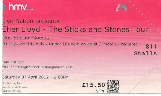 myblogaboutcherlloydcom 120407 Birmingham Ticket (1)