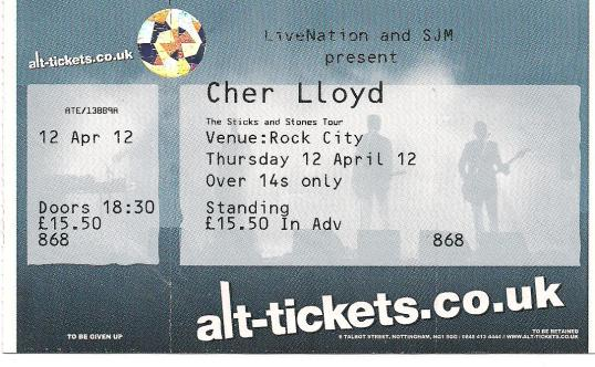 myblogaboutcherlloydcom 120412 Nottingham Ticket