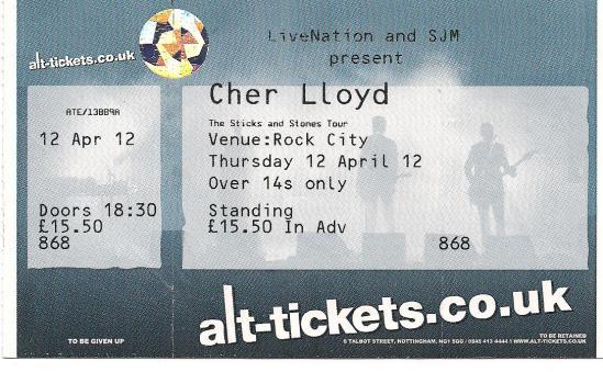 myblogaboutcherlloydcom 120412 Nottingham Ticket