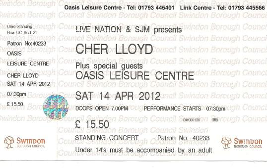 myblogaboutcherlloydcom 120414 Swindon Ticket