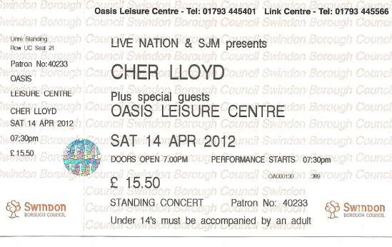 myblogaboutcherlloydcom 120414 Swindon Ticket