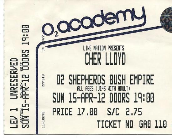myblogaboutcherlloydcom 120415 Shepherds Bush Ticket